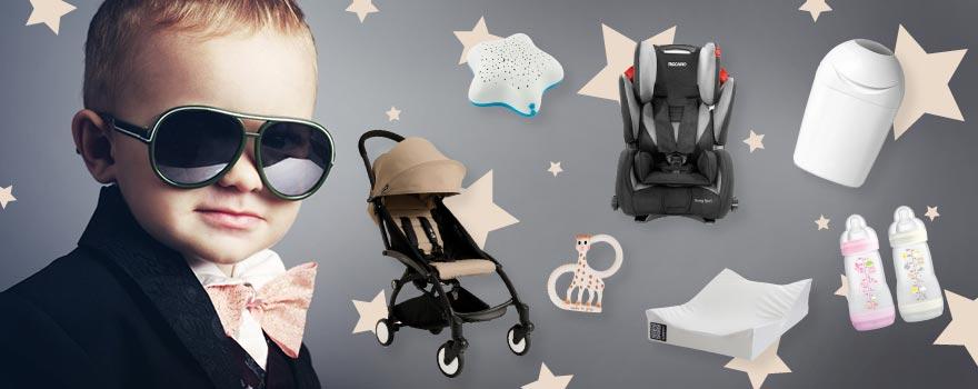 un bébé avec une poussette, un siège auto et d'autres produits stars
