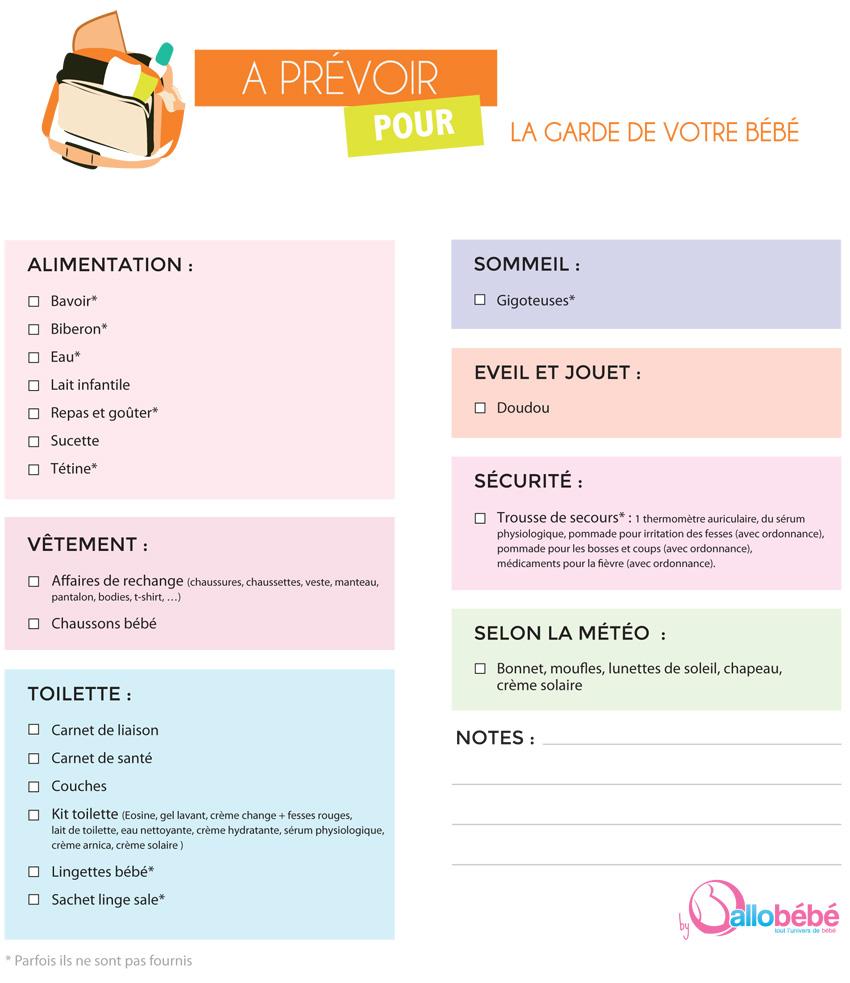 liste des produits à amener à la crèche ou chez l'assistante maternelle