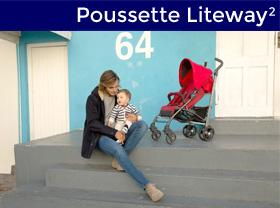 maman avec bébé à coté de la poussette liteway