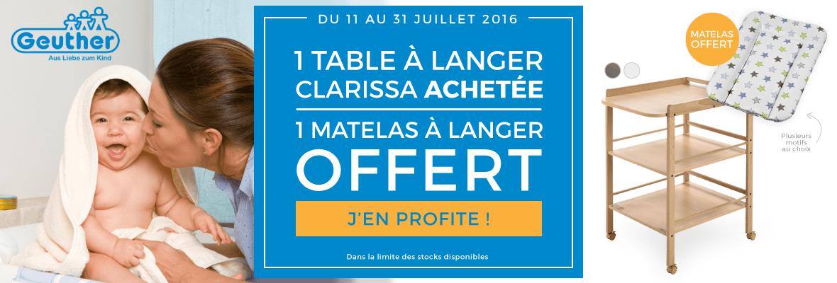 1 table à langer achetée = 1 matelas offert