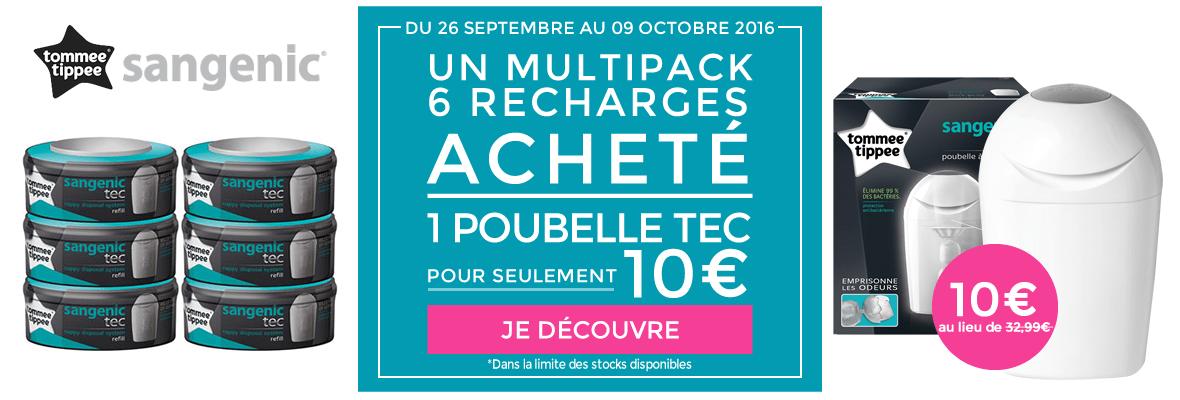 1 multipack 6 recharges Sangenic acheté = 1 poubelle Tec à 10€