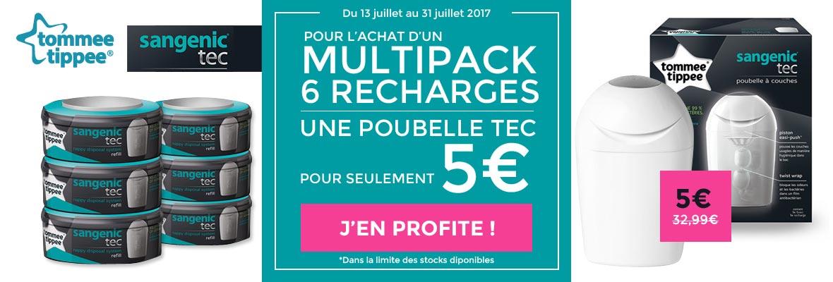 1 multipack 6 recharges Sangenic acheté = 1 poubelle Tec à 5€