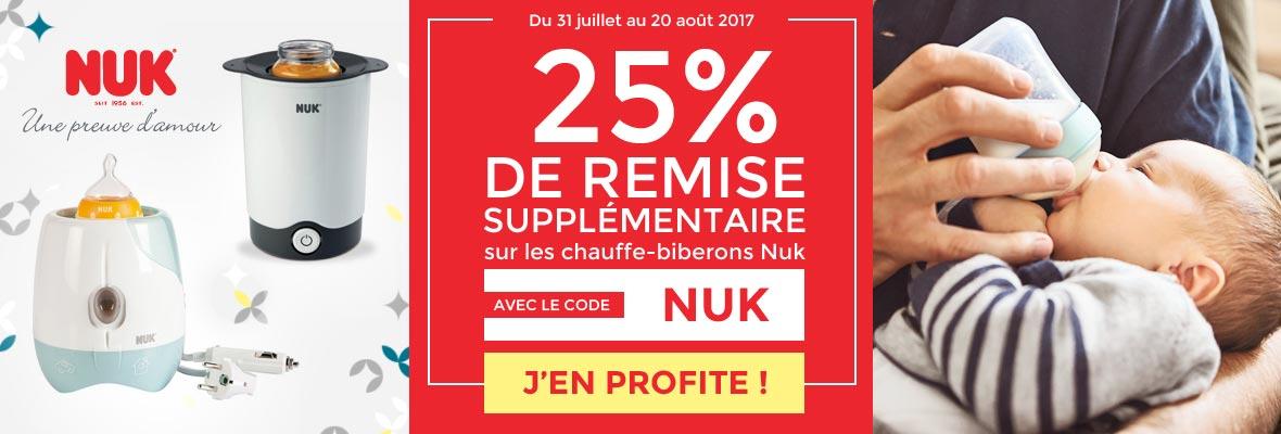 25% sur les chauffe-biberons NUK !