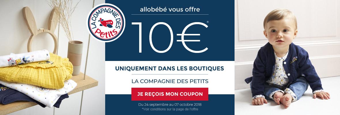 allobébé vous offre 10€ dans les boutiques LA COMPAGNIE DES PETITS