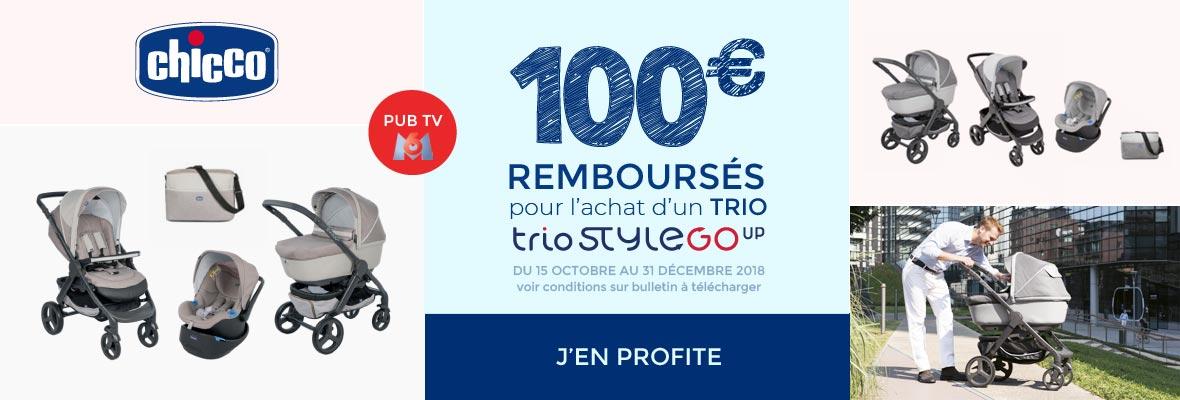100€ remboursés sur un trio Love up ou StyleGo up !