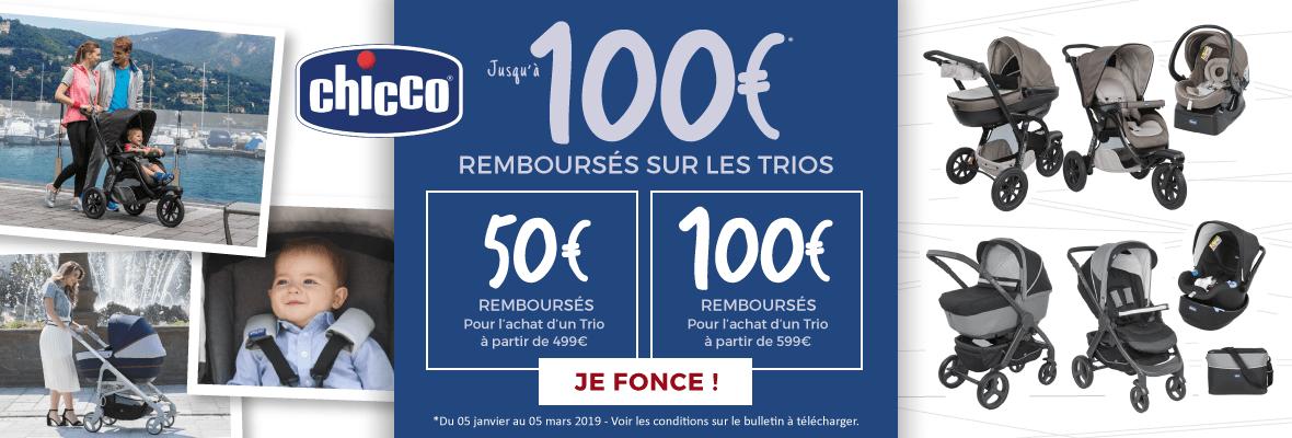 Jusqu'à 100€ remboursés sur un trio !
