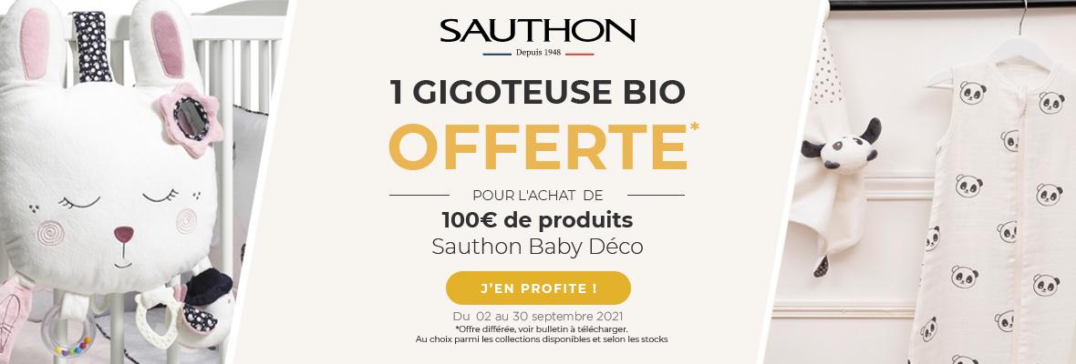 Sauthon : 1 Gigoteuse BIO 0-6 mois offerte
