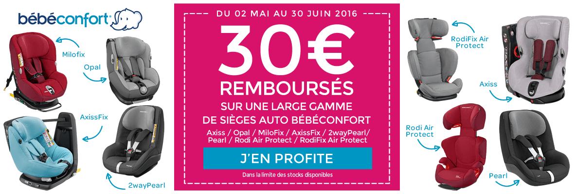 30€ remboursés sur une large gamme de sièges auto