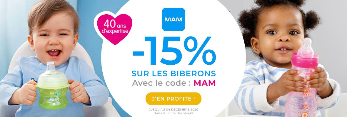 15% sur les biberons Mam !