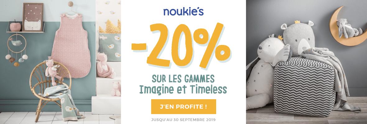 20% de remise sur les thèmes Noukies Imagine et Timeless