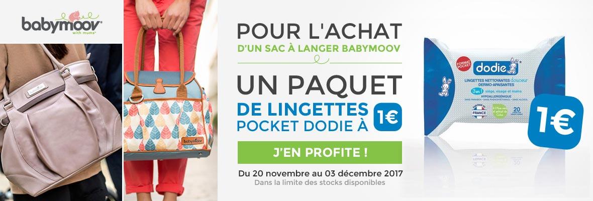 Un sac Babymoov acheté = 1 paquet de lingettes Dodie à 1€ !