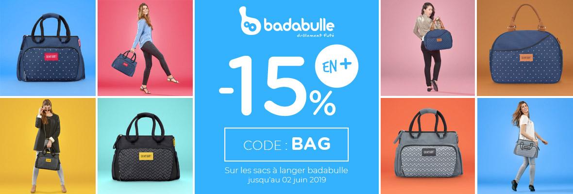 15% supp sur les sacs à langer Badabulle