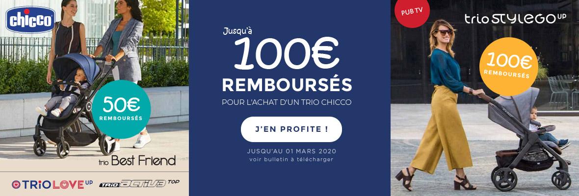 Jusqu'à 100€ remboursés sur un trio Chicco !
