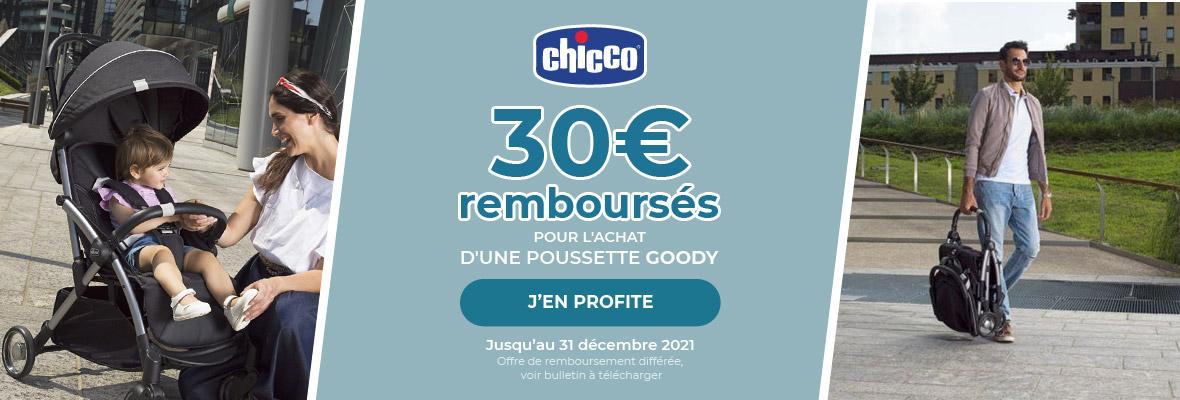 30€ remboursés pour l'achat d'une poussette Chicco Goody