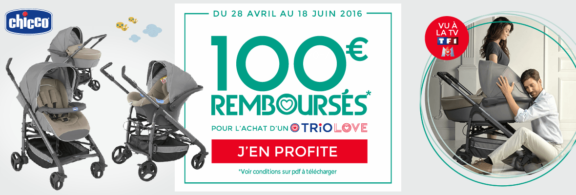 100€ remboursés sur le trio Love !