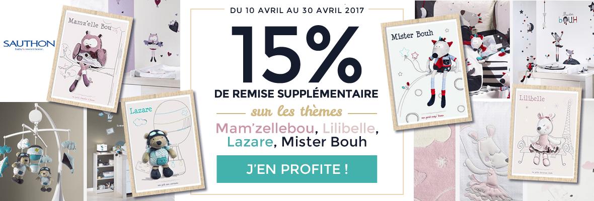 15% supplémentaires sur 4 thèmes Sauthon