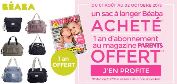 Magazine Parents offert pour l'achat d'un sac à langer Béaba