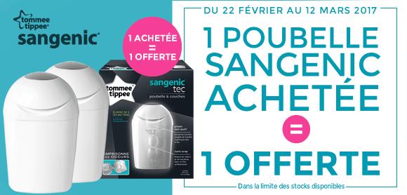 1 poubelle Sangenic Tec achetée = la 2ème offerte !