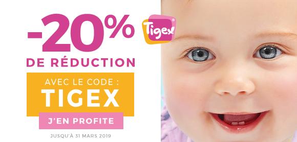 20% de remise sur la marque Tigex !